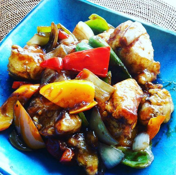 sweet and sour pork vegan style.JPG